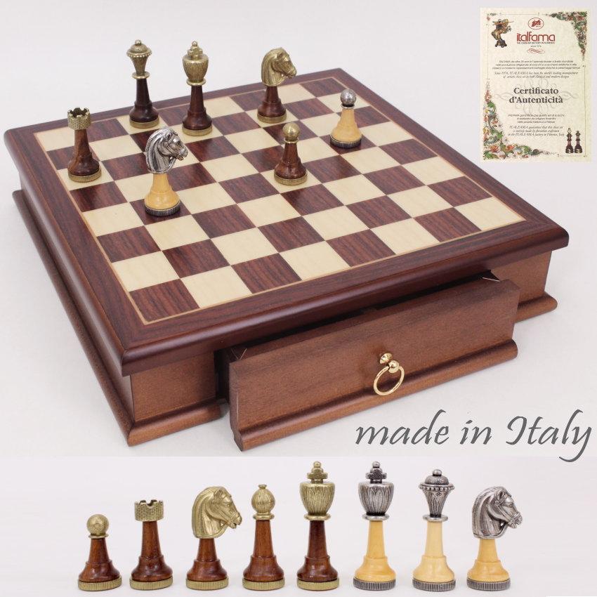 イタリア製木製チェスメン&マホガニー材チェスボード《引出し付》art333w141mw 持ち運びにも便利なボックスタイプ 【$】【定番】
