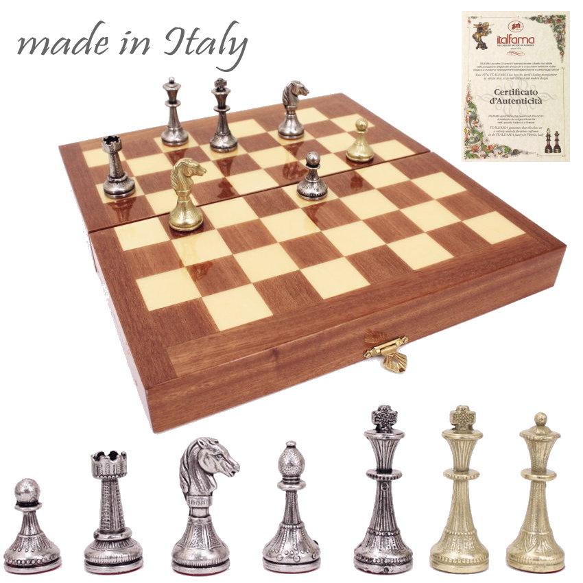 イタリア製チェスメン&マホガニー製チェスボックス/ボードセット ART565 【$】【定番】
