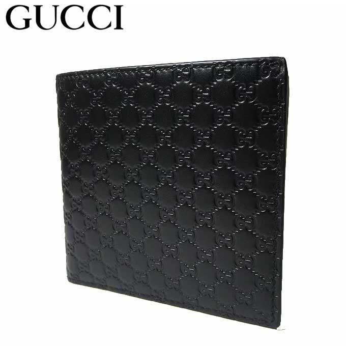 グッチ アウトレット GUCCI 財布 150413 マイクログッチシマ 二つ折り財布(小銭入れ有り) ブラック 【メンズ】【二つ折り】【GG柄】【カード分割】