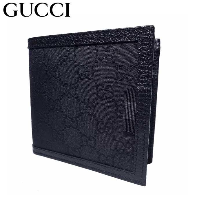 グッチ アウトレット GUCCI 財布 150413 GGナイロン 二つ折り財布(小銭入れ有り) GG柄・ブラック 【メンズ】【二つ折り】【GG柄】【カード分割】【レディース】