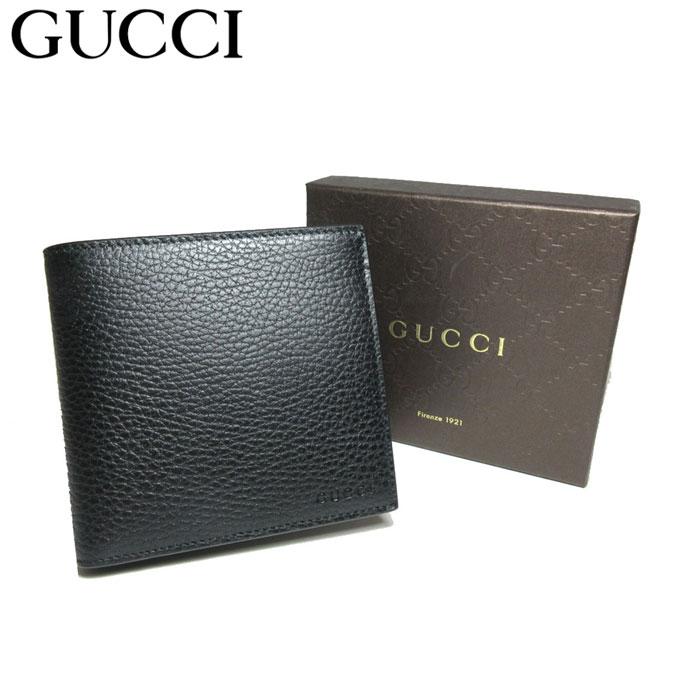 グッチ アウトレット GUCCI 150413 ロゴ レザー 二つ折り財布(小銭入れ有り) ブラック 【メンズ】【革製】【カード分割】【レディース】