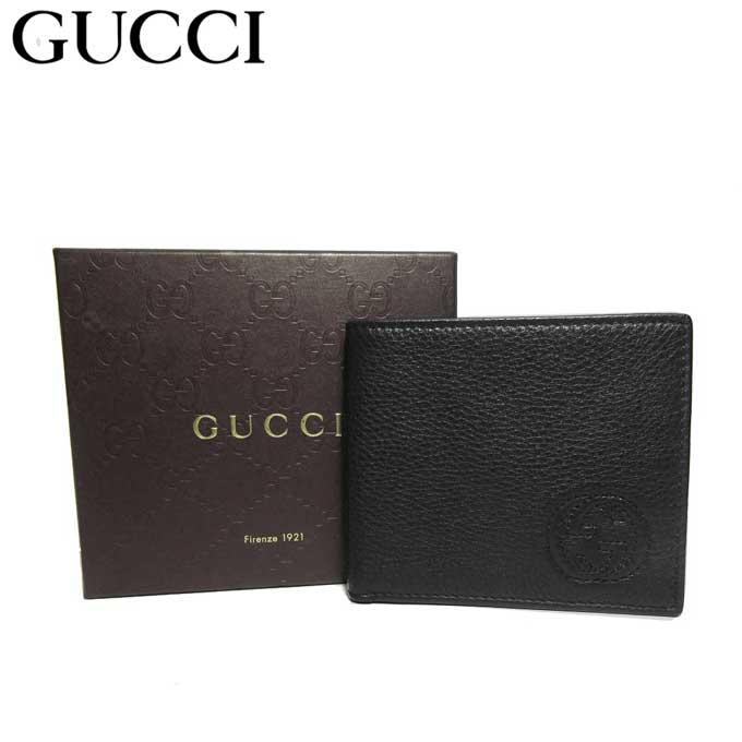 グッチ ブティックライン GUCCI 322114 ロゴ レザー 二つ折り財布(小銭入れ無し) ブラック【メンズ】【革製】【カード分割】