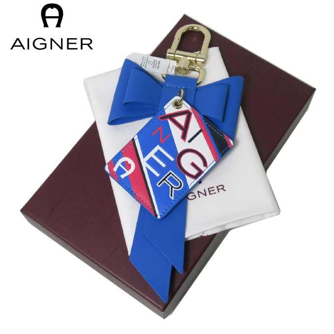 ドイツの高級ファッションブランド ラッピング対応 12時まで即日発送 日 除く 箱付き アイグナー ブティック AIGNER ファッション通販 安全 キーホールダー Fashion レディース 160130-571 Blue ギフト タグ リボン レザー バッグチャーム Cyan