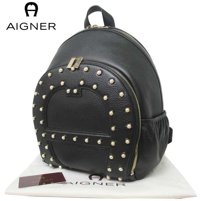 ドイツの高級ファッションブランド ラッピング対応 12時まで即日発送 日 除く 希望者のみラッピング無料 アイグナー ブティック メーカー再生品 AIGNER ショルダーバッグ 136660-002 レザー×フェイクパール レディース Backpack ギフト ロゴ Black リュック メンズ バックパック