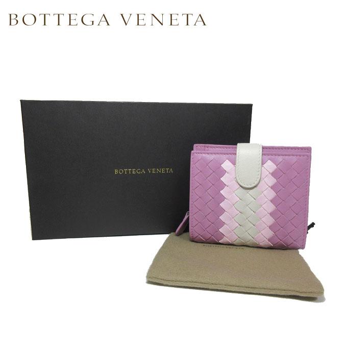 ボッテガヴェネタ BOTTEGA VENETA 121059-VCB41-5568 イントレチャート レザー 両開き財布 ライラック系×ピンク系×オフホワイト系【カード分割】【レザー】【レディース】