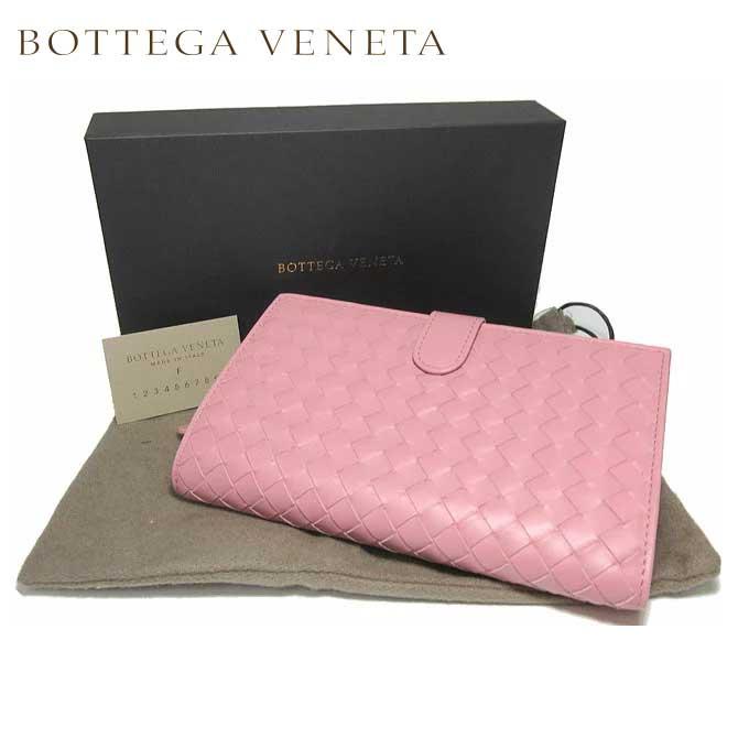 ボッテガヴェネタ BOTTEGA VENETA 132357-VQ131-5718 イントレチャート レザー 両開き財布 ピンク系【レディース】
