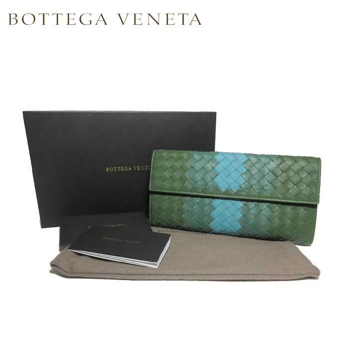 ボッテガヴェネタ BOTTEGA VENETA 134075-VCB41-3464 イントレチャート レザー 両開き 長財布 グリーン系マルチ【レディース】