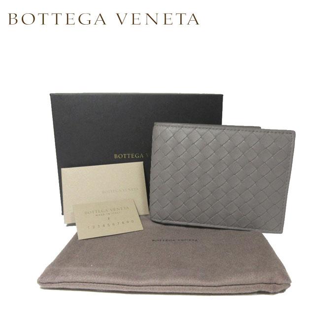 ボッテガヴェネタ BOTTEGA VENETA 148324-V001N-1300 イントレチャート レザー 二つ折り財布(小銭入れ有) グレー系【カード分割】【メンズ】
