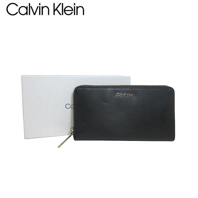 カルバン クライン アウトレット Calvin Klein 財布 K60K605668-BDS フェイクレザー ENFOLD LARGE ZIPAROUND XL ラウンドファスナー ファスナージップ 長財布 BLACK【レディース】 【カード分割】