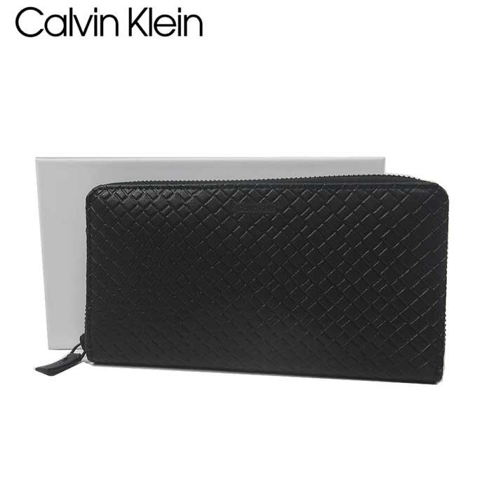 カルバン クライン アウトレット Calvin Klein 財布 79871 型押しレザー ラウンドファスナー長財布 RFID leather zip around wallet / BLACK【メンズ】【カード分割】