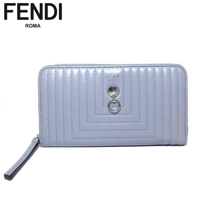 フェンディ アウトレット FENDI 財布 8M0299-18F-F04QK レザー ラウンドファスナー 長財布 グレー系 【カード分割】【レディース】