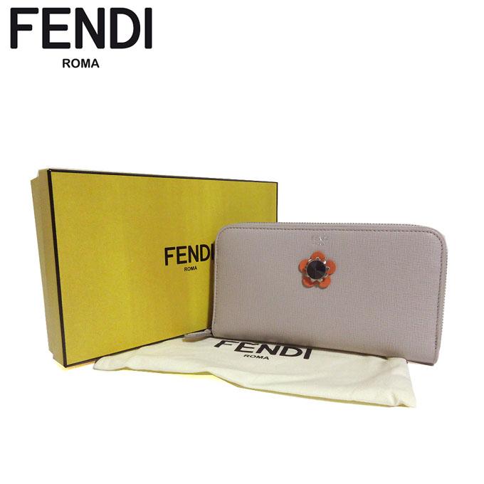 フェンディ アウトレット FENDI 財布 8M0299-9PR-F0Y9G 型押しレザー フラワー ラウンドファスナー 長財布 グレーベージュ系【カード分割】【レディース】