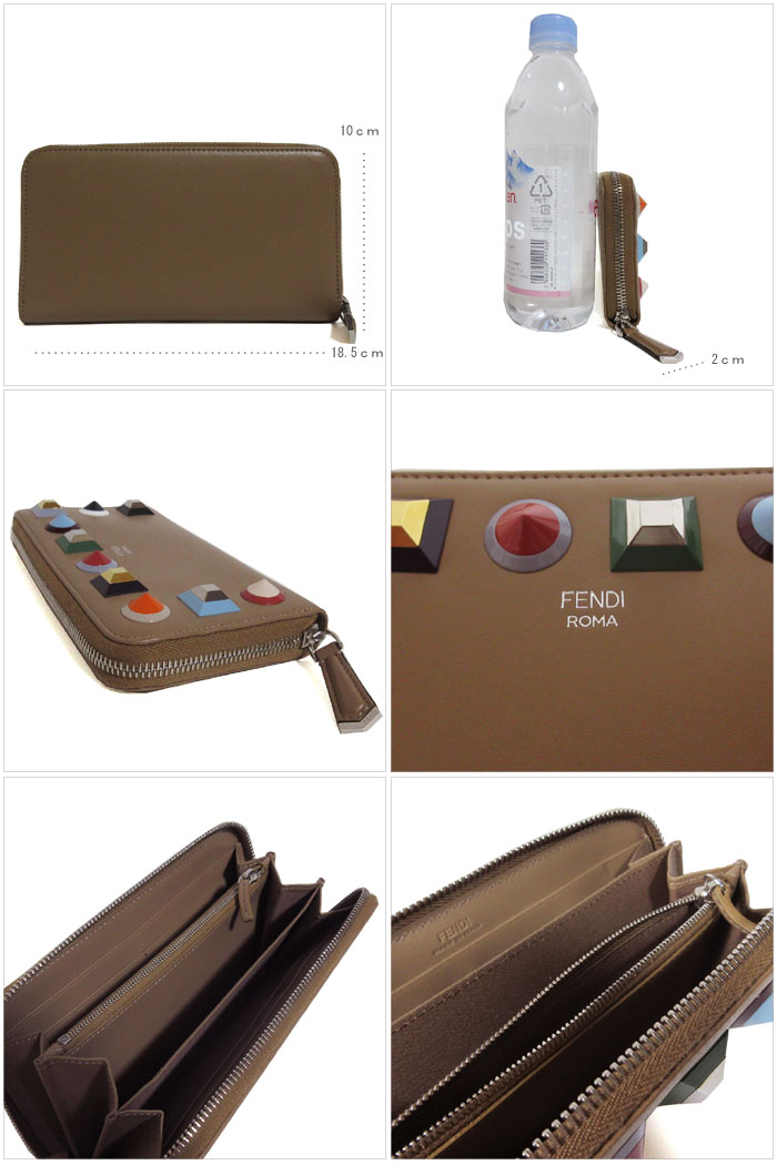 new style 6177b 513d9 X multicolored of Fendi outlet FENDI wallet 8M0299-SR0-F08L3 leather round  fastener long wallet Brown line