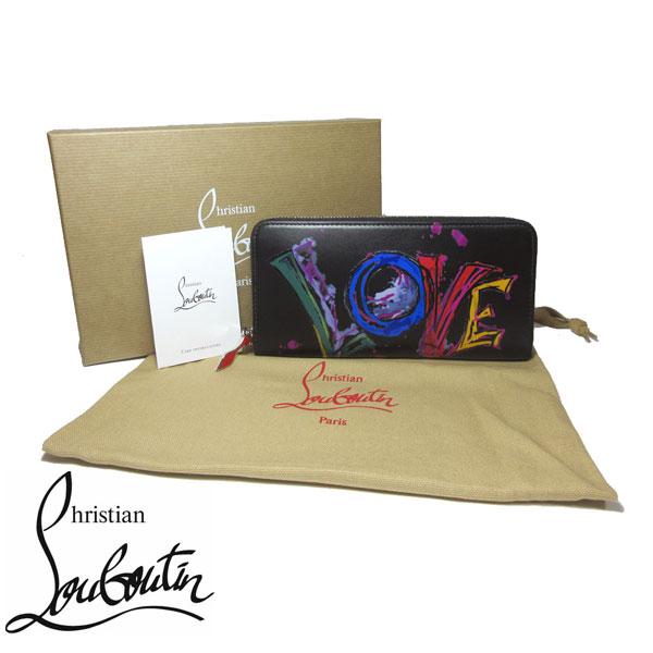 クリスチャンルブタン Christian Louboutin 財布 3185255-BK01 Panetton パネトーネ レザー ラウンドファスナー 長財布 NV CALF PARIS LOVE / BLACK【レディース】【カード分割】