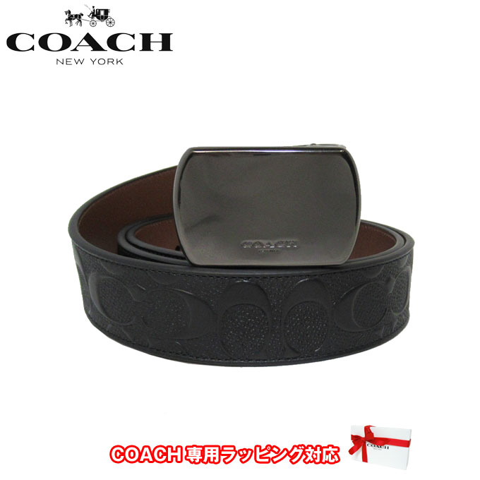 コーチ アウトレット COACH アパレル メンズ F101 レザー シグネチャー リバーシブル ベルト QBLVW(ブラック×ブラウン系)【ベルト】【メンズ】