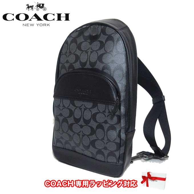 コーチ アウトレット COACH ショルダーバッグ F39942 PVC×レザー シグネチャー ボディーバッグ QBAF4(チャコール×ブラック)【メンズ】【カード分割】