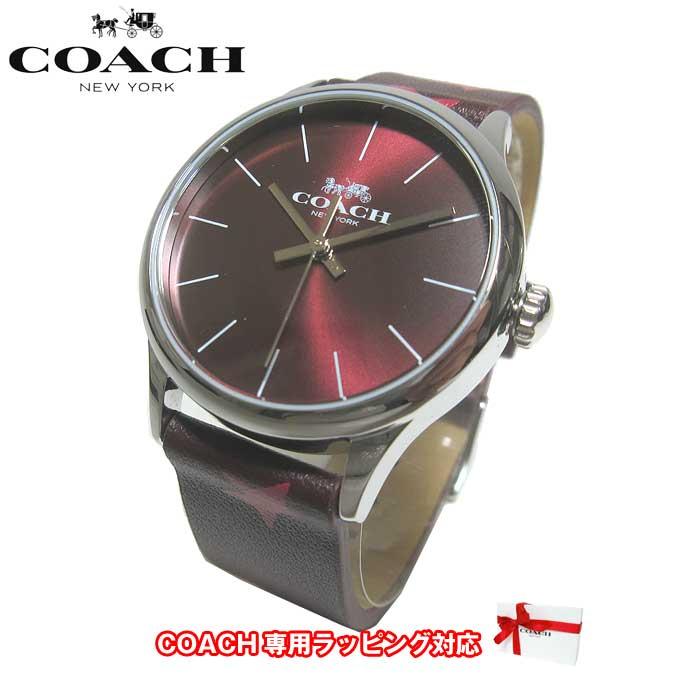 ●ギフトBOX付!!● コーチ アウトレット COACH 腕時計 14503167 W1546 OXB / RUBY プリント レザー レディース腕時計 文字盤:ワイン系/ベルト:ワイン系【腕時計】【s-mail03】