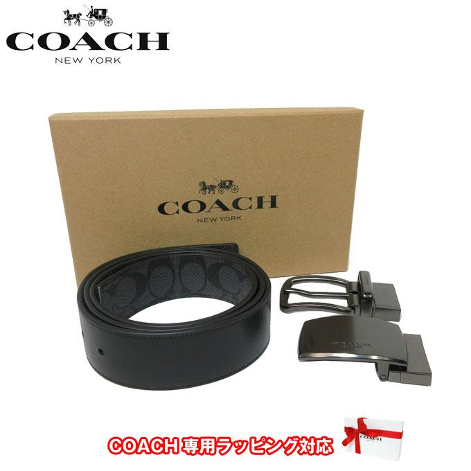 ●ギフトBOX付!!● コーチ アウトレット COACH アパレル メンズ F22540 PVC×レザー リバーシブル ベルト 38MM ギフトセット BK/BK(ブラック×ブラック)【カード分割】【メンズ】