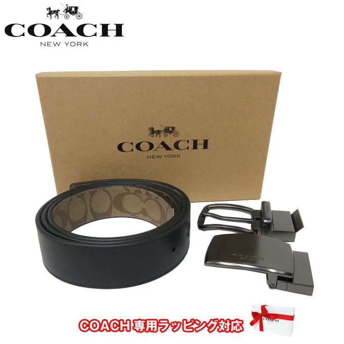 ●ギフトBOX付!!● コーチ アウトレット COACH アパレル メンズ F22540 PVC×レザー リバーシブル ベルト 38MM ギフトセット QBTN2(タン)【カード分割】【メンズ】
