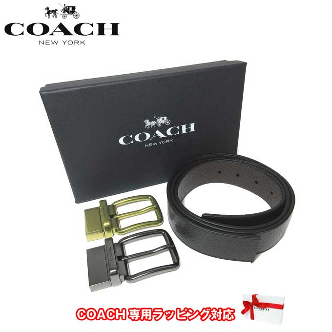 ●ギフトBOX付!!● コーチ アウトレット COACH アパレル メンズ F55434 レザー リバーシブル ベルト ギフトセット AQ0(ブラック×ダークブラウン)【カード分割】【メンズ】