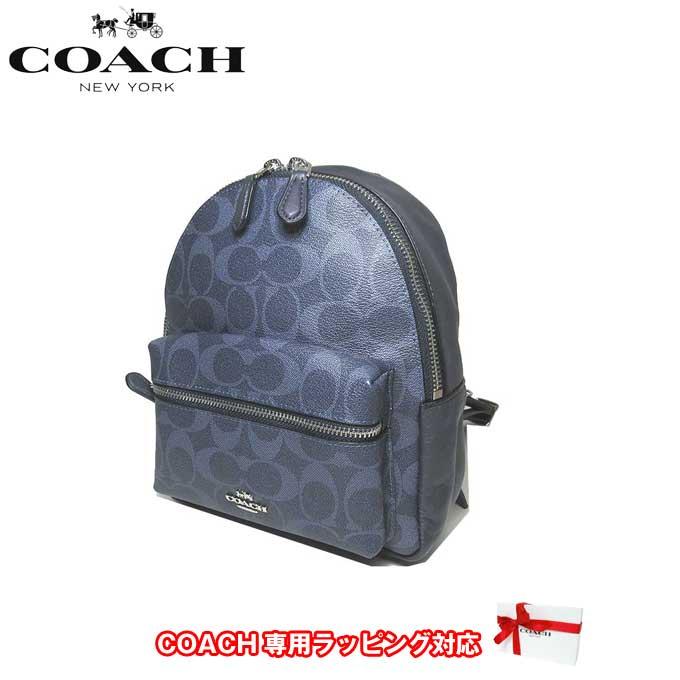 コーチ アウトレット COACH ショルダーバッグ F29719 PVC シグネチャー チャーリー ミニ バックバッグ / リュック SVM2Q(デニム×ミッドナイト)