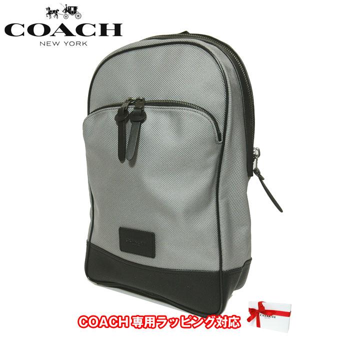 コーチ アウトレット COACH ショルダーバッグ F37610 ナイロンキャンバス スリム バックパック / リュック QBHGR(ヘザーグレー)【メンズ】【0815カード分割】【s-mail03】