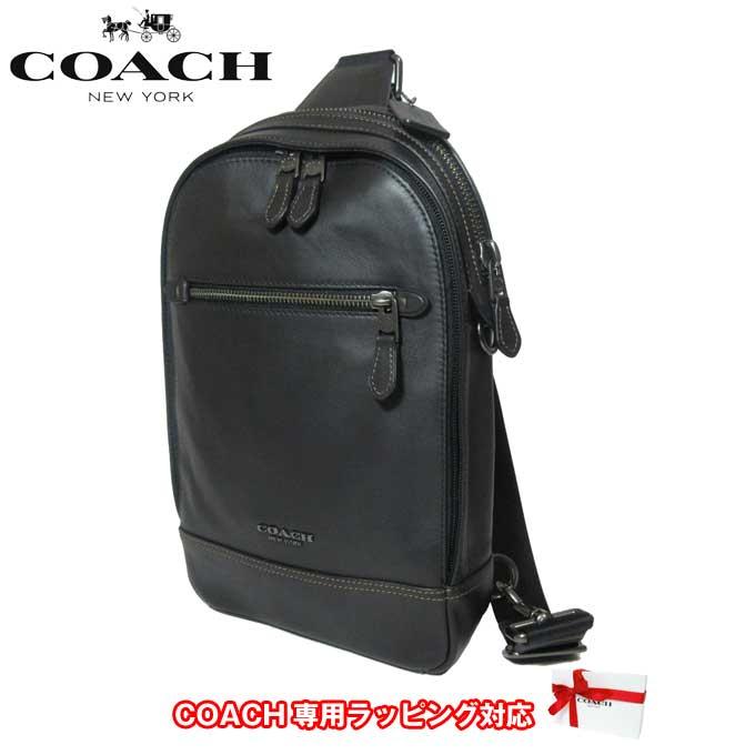 コーチ アウトレット COACH ショルダーバッグ F37598 レザー グラハム ボディーバッグ QB/BK(ブラック)【メンズ】【カード分割】