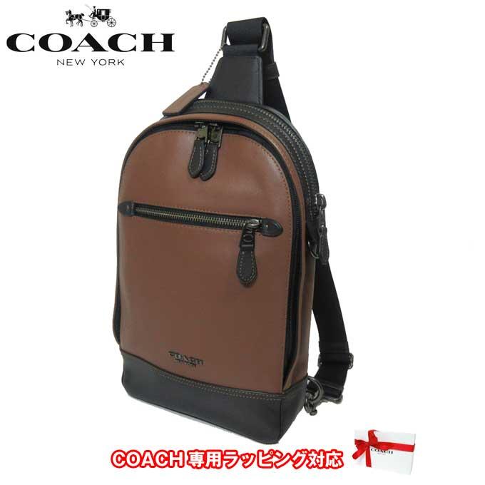 コーチ アウトレット COACH ショルダーバッグ F37598 レザー グラハム ボディーバッグ QB/SD(サドル)【メンズ】【カード分割】