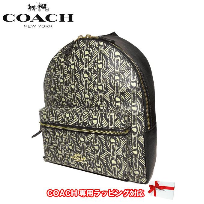 コーチ アウトレット COACH ショルダーバッグ F39001 PVC×レザー チェーン プリント ミディアム チャーリー バックバッグ / リュック IMBLK(ブラック)