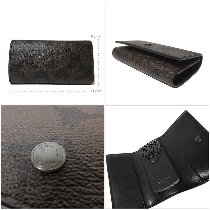 b23e8328 Coach outlet COACH key case F26104 four PVC leather signature key case  MA/BR / QBAE4 (mahogany X brown)
