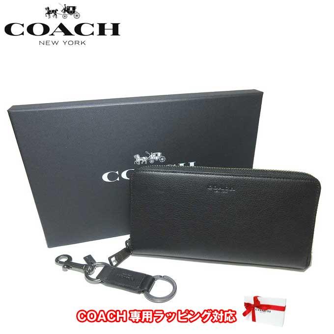 ●ギフトBOX付!!● コーチ アウトレット COACH 財布 F58928 レザー アコーディオン ジップアラウンド / 長財布 & キーリング ギフトセット BLK(ブラック)【レディース】