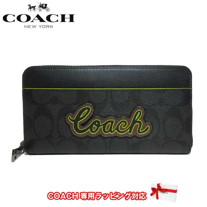コーチ アウトレット COACH 財布 F38852 シグネチャー ネオン PVC アコーディオン ジップアラウンド ラウンドファスナー 長財布 QBO6X(ブラック×ブラックマルチ)【カード分割】