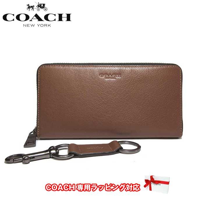 ●ギフトBOX付!!● コーチ アウトレット COACH 財布 F58928 レザー アコーディオン ジップアラウンド / 長財布 & キーリング ギフトセット CWH(ダークサドル)