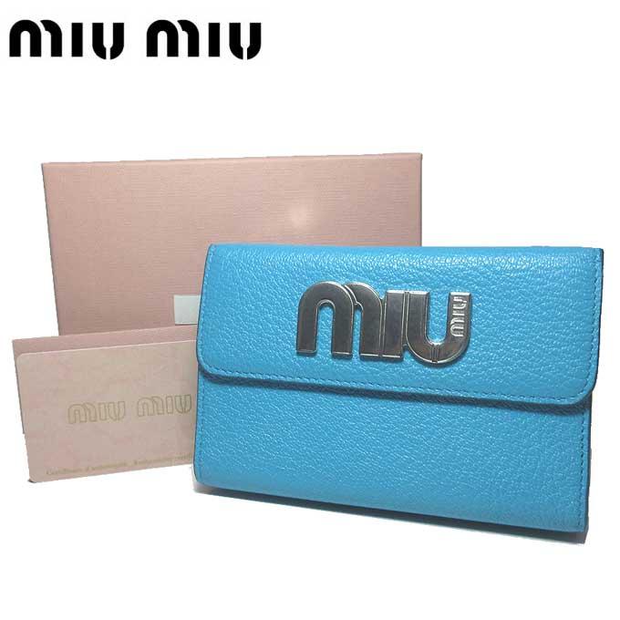ミュウミュウ アウトレット miumiu 財布 5ML014 マドラスレザー miu ロゴ 両開き財布 MADRAS MIU / VOYAGE【両開き】【カード分割】【レディース】