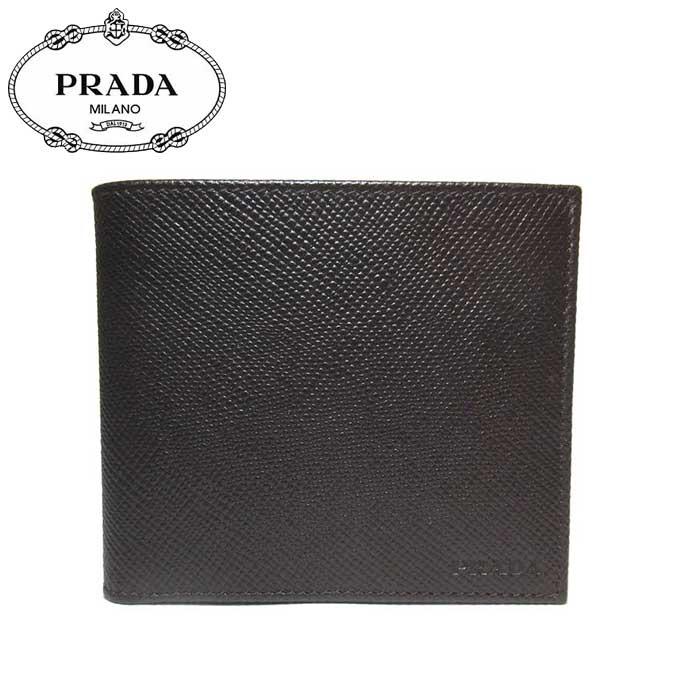 プラダ アウトレット PRADA 財布 2MO738 サフィアーノ ロゴ 二つ折り財布(小銭入れ有り) SAFFIANO CUIR / CAFFE' 【二つ折り】【メンズ】【カード分割】
