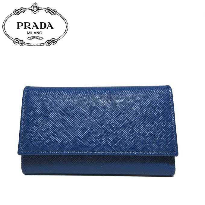 プラダ アウトレット PRADA キーケース 2PG222 サフィアーノ ロゴ 6連 SAFFIANO1 / BLUETTE【メンズ】【カード分割】