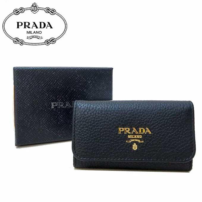 プラダ アウトレット PRADA キーケース 1PG222 ペブルドレザー VITELLO GRAIN / NERO 【メンズ】【レディース】