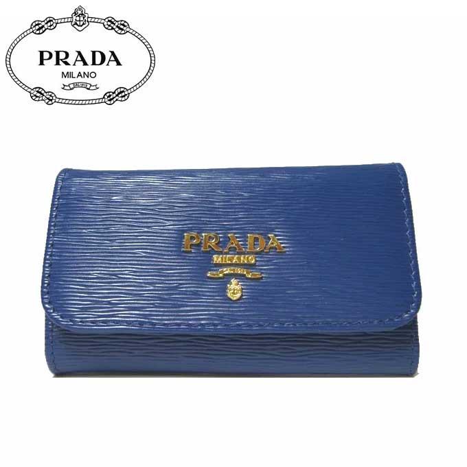 プラダ アウトレット PRADA キーケース 1PG222 型押しレザー VITELLO MOVE / BLUETTE 【カード分割】【レディース】