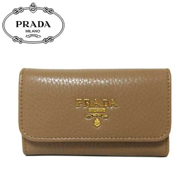 プラダ アウトレット PRADA キーケース 1PG222 ペブルドレザー VITELLO GRAIN / SESAMO 【カード分割】【メンズ】【レディース】