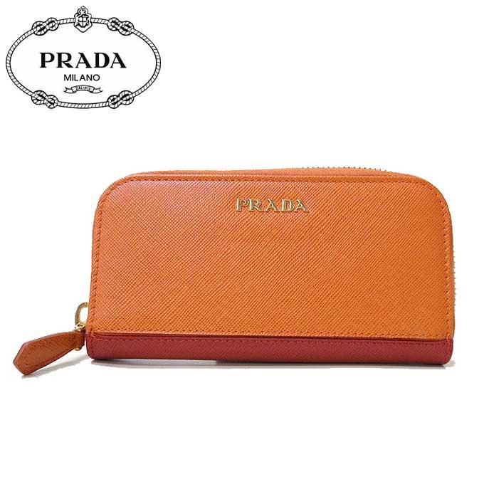 プラダ アウトレット PRADA キーケース 1PG604 サフィアーノ PAPAYA+FUOCO 【カード分割】【レディース】