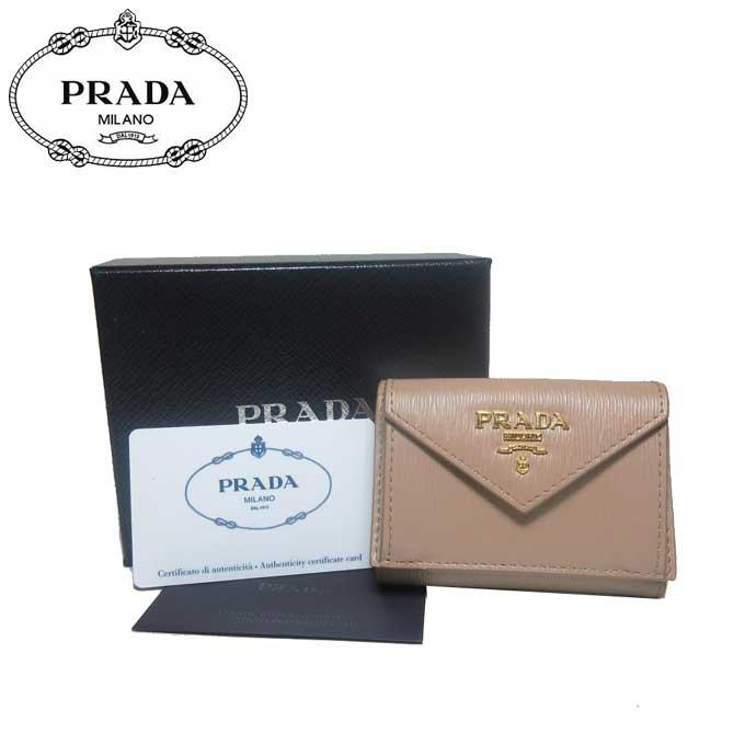 プラダ アウトレット PRADA 財布 1MH021 型押しレザー ミニ 三つ折り財布 VITELLO MOVE / CAMMEO【カード分割】【レディース】