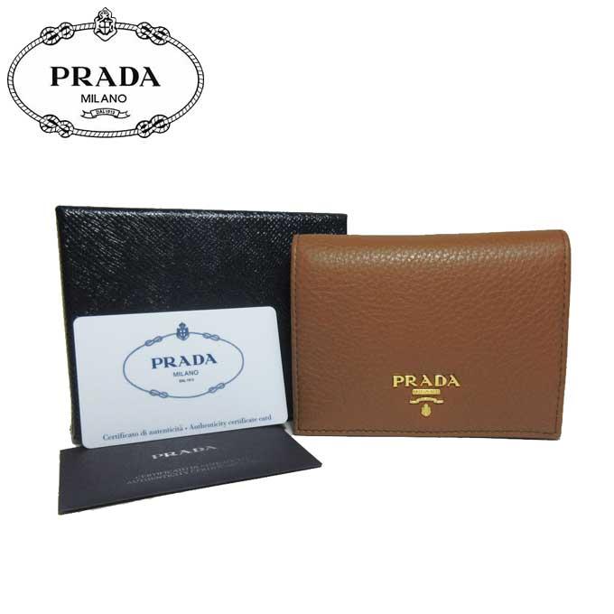 プラダ アウトレット PRADA 財布 1MV204 レザー 二つ折り財布 VITELLO GRAIN / CANNELLA 【二つ折り】【カード分割】【レディース】
