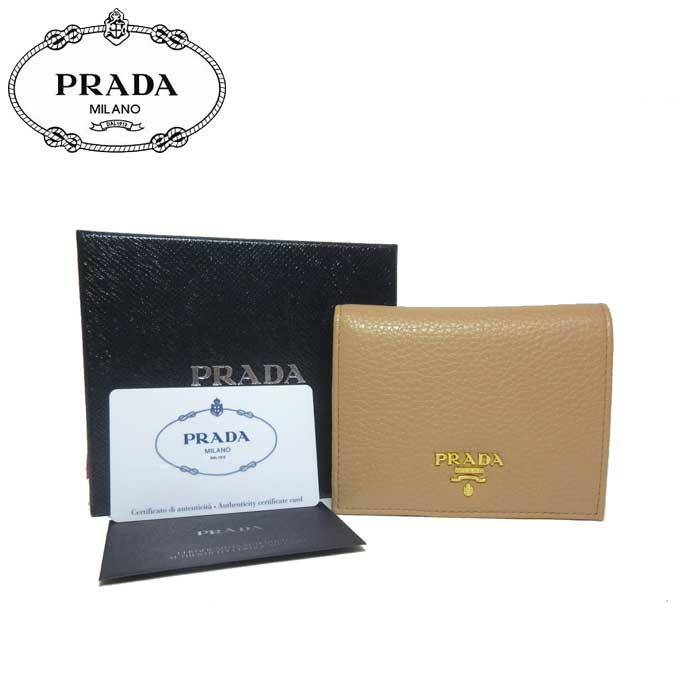プラダ アウトレット PRADA 財布 1MV204 レザー 二つ折り財布 VITELLO GRAIN / SUGHERO 【二つ折り】【カード分割】【レディース】