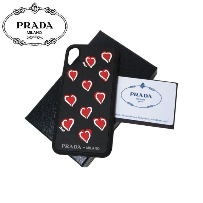 プラダ アウトレット PRADA モバイルアクセサリー 1ZH058 ラバー ハートモチーフ iPhone X 専用ケース RUBBER CUORI / NERO【レディース】
