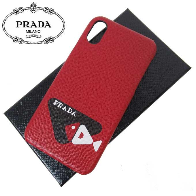 ●ギャラ無し● プラダ アウトレット PRADA モバイルアクセサリー 2ZH058 サフィアーノ ロゴプリント iPhone X 対応ケース レッド系【メンズ】
