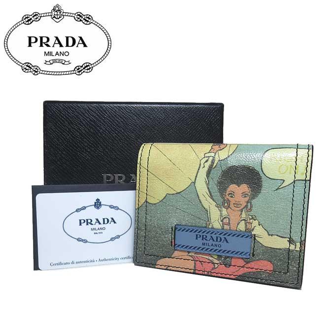 プラダ アウトレット PRADA 財布 1MV204 レザー コミックプリント 二つ折り財布 GLACE'CALF VINT / LOGO【二つ折り】【カード分割】【レディース】