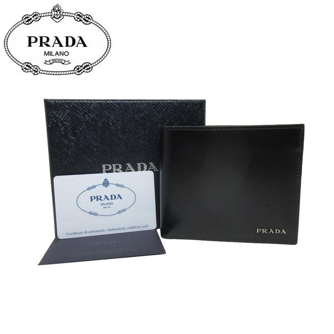 プラダ アウトレット PRADA 財布 2MO513 レザー ロゴ 二つ折り財布(小銭入れ無し) VITELLO / NERO【二つ折り】【メンズ】【カード分割】