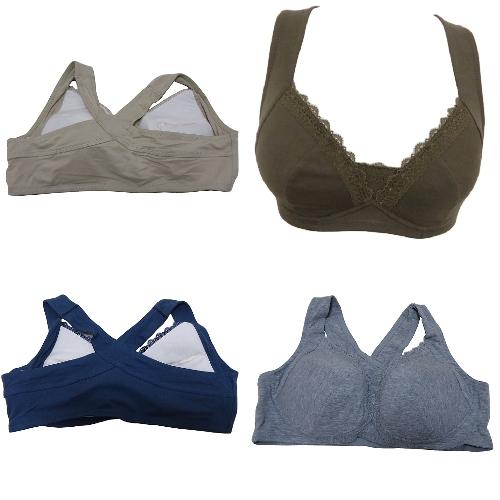 【綿95%の肌にやさしいい着け心地】素材感が重要です。 らくらく美姿勢ブラジャー ノンストレスブラ 綿95% バッククロス ナイトブラ ノンワイヤーブラ  (M、L、LL、3L、」4L、5L、6L)大きいサイズあり