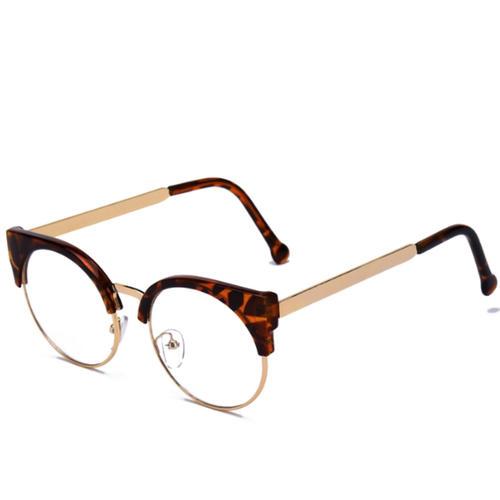 b121258e14a Stylish glasses unisex sport glasses Date glasses black edge glasses  Wellington type Boston model tortoiseshell half rim uncle glasses gold men  round cat ...