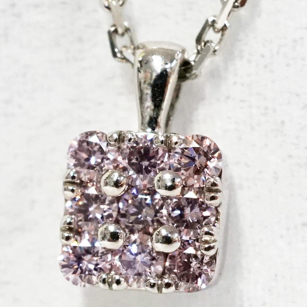 ピンクダイヤモンド スクエア パヴェ プラチナ ネックレスP-88
